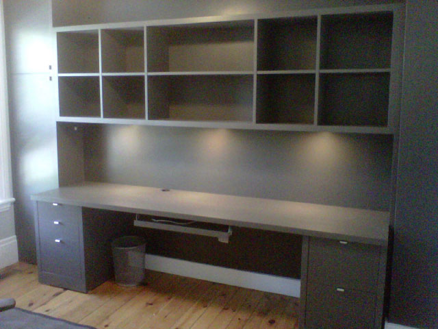 custom office shelves and desk