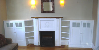 custom fireplace and shelves