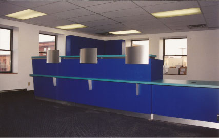 bank reception/service area