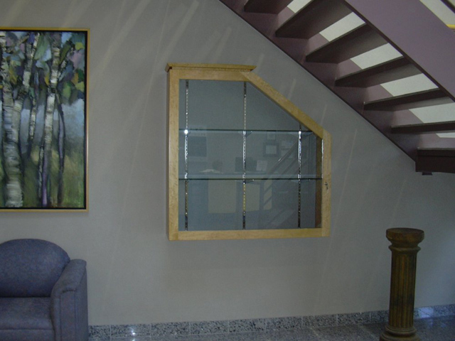 custom window frame under staircase